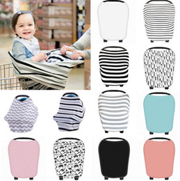 Wholesale Wholesale Nursing Caps - Multi-Use Stretchy Newborn Infant Nursing Cover Baby Car Seat Canopy Cart Cap Baby Stripe Breastfeeding Nursing Cover Stroller Cover KKA2501
