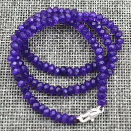 "Wholesale Brazilian Gemstones - New 2x4mm Faceted Brazilian Amethyst Handmade Gemstone necklace 18 ""Silver clasp"