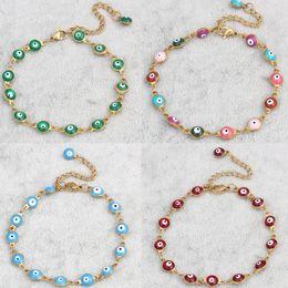 Wholesale Womens Stainless Steel Bangle - Wholesale-Evil Eye jewelry Bracelet Stainless Steel gold plated Colorful Enamel Evil Eye Charm Chain Bracelet Bangles For Men Womens