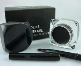 Wholesale Eyeliner Gel Brush Fluidline - Hot sale 2colors black brown brand MC makeup eyeliner gel Fluidline with brush 5.5g 0.17 US OZ