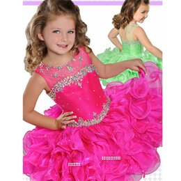 Wholesale free kids pageant dresses - Beautiful Princess Kids Pageant Dresses 2017 Crystal Ruffles Short Cupcake Pageant Gowns Girls Birthday Gown for Kids Custom Made Free Ship