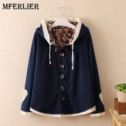 Wholesale Winter Trenchcoat - Mori Girl Autumn Winter Trenchcoat Solid Hooded Single Breasted Pannelled Lace Patchwork Manteau Femme
