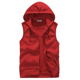 Wholesale Fitness Brands Coats - Wholesale- Men Solid Hooded Waistcoat Fashion Brand Vest Coats Tank Top Sleeveless Hoody Jacket Men's Slim Fitness Outwear Clothing S-XXL