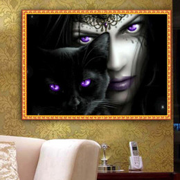 Wholesale Black Cat Cross Stitch - YGS-410 DIY Partial 5D Diamond Embroider The Black Cat Round Diamond Painting Cross Stitch Kits Diamond Mosaic Decoration