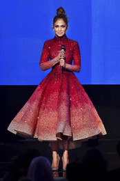 Wholesale Tea Length Couture - 2018 Formal Evening Wear Gowns High Neck Major Beaded Long Sleeve Tulle Tea Length Prom Dresses Jennifer Lopez Haute Couture Evening Dress