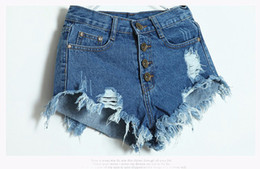 Wholesale Sexy High Waisted Hot Pants - High Waisted Denim Shorts Women New 2016 Fashion Summer Hole Tassel Ladies Hot Sexy Mini Short Jeans Feminino Black Blue White