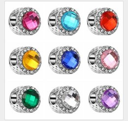 Wholesale Faceted Gemstones - Fits Pandora Bracelets 10pcs Faceted Crystal Gemstone Gorgeous Charm Bead Loose Beads For Wholesale Diy European Sterling Necklace Women