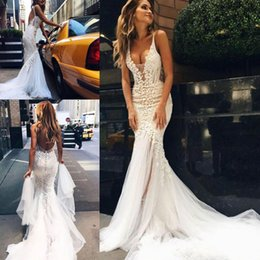 Wholesale Lace Fishtail V Neck - 2018 Custom Made Couture Lace Floral Long Train Mermaid Beach Wedding Dresses V-neck Fishtail Backless Bridal Gown