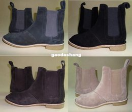 Wholesale Designer Wedges Boots - Wholesale-Chelsea boots men brand designer martin style slp Genuine Leather ankle boots men kanye west boots men shoes Trainers