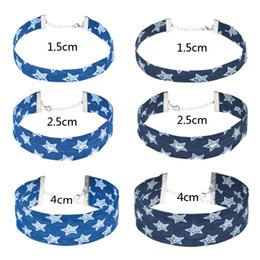 Wholesale New Star Jeans - Hot Fashion Handmade New Stylish Wide Blue Denim Choker for Women Punk STAR design Jeans Choker Necklace Wholesale Jewelry