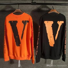 Wholesale Hoodie Tracksuits For Men - Men fashion vlone for off white hoodie hip hop sweatshirt women harajuku sport palace skateboards pullover tracksuit free shipping