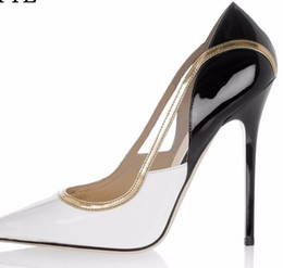 Wholesale Pu Trim - 2017 Shoes Woman White Black Leather Gold Trim High Heels Classic Mixed Colors Women Pumps Fashion Pointed Toe High Heels Shoes