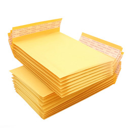Wholesale Wholesale Padded Shipping Envelopes - 100pcs lot Small Size 11*13cm Yellow Color Kraft Mailer Sealing Shipping Package Easy Packing Bubble Padded Envelopes Bags
