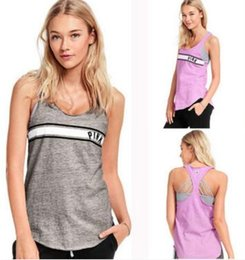 Wholesale Love Pink Shorts L - Hot Sales LOVE PINK summer women casual T-shirt pink alphabet printing Slim sleeveless vest Round neck t-shirt