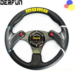 Wholesale Momo Race - NEW 32cm Black MOMO leather steering wheel and carbon fibre wheel automobile race modified PQY - SW41