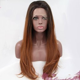 Wholesale Two Tone Cheap Lace Fronts - Synthetic Lace Front Wig Black Brown Glueless Ombre Two-Tone Silk Heat Resistant Fake Hair Wigs Cheap Afro Wig for Black Women