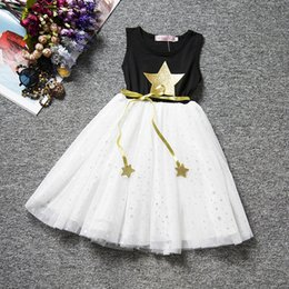 Wholesale Metallic Tulle - Girls Stars metallic print sleeveless dress summer kids glitter star belt printing lace princess vest dress for 3-8T