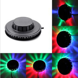 Wholesale Usa Leds - black white Sunflower LED Light Magic 7 Colors 48 LEDs auto Voice Activated LED RGB Stage Light for Disco Stage home party