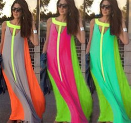 Wholesale bright green dresses - Casual Dresses Bright Color Patchwork Sleeveless Sundress Big Skirt Loose Long Dress Cheap Women Maxi Dresses M070