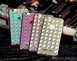 Wholesale Chrome Cell Phone Cases - For Iphone 6S 6 Plus 5.5 4.7 I6S Agate Case Diamond Bling Electroplate Frame Soft TPU Silicone Clear Crystal Chrome skin Cell phone Luxury