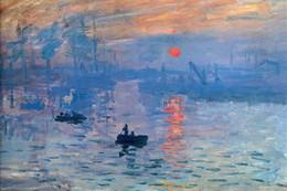 Wholesale Sunrise Oil Painting - Beautiful Sunrise ,Pure Hand Painted Modern Wall Decor Claude Monet Sunrise Art Oil Painting On High Quality Canvas.Multi sizes Vg003