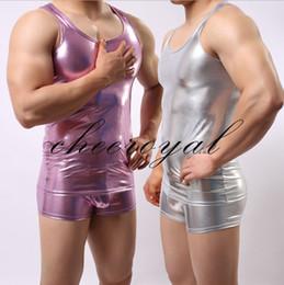 Wholesale Leather Tank Top Men - Wholesale- 2016 pu leather Men Sexy Vest Faux Leather Solid Color Black Male Tank Tops Underwear Slim Wear Men O-Neck