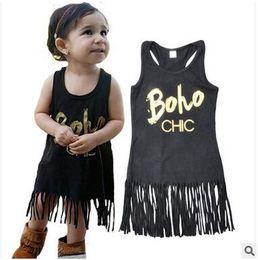 Wholesale Wholesale Dresses For Little Girls - Fashion Tassel Vest Dress For Little Girl Summer Sleeveless Black Cotton Dress Kids Beach Tassel Dress High Quality Free Shipping