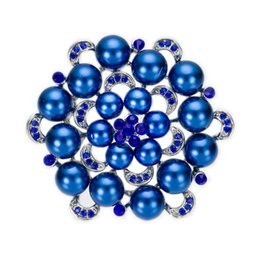 Wholesale Royal Blue Brooches - Silver Plated Royal Blue Crystal and Pearl Flower Bridal Brooch