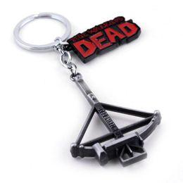 Wholesale Zinc Tags Wholesale - The WALKING DEAD DOG TAG CROSSBOW METAL Keychain Key Ring Pendant Key Chain Fashion Keyring Bronze black Souvenir