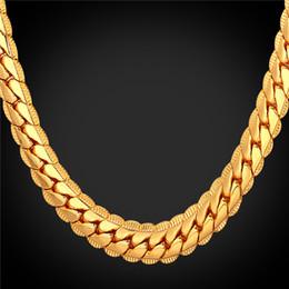 großhandel edelstahl europäische perlen Rabatt U7 9 MM Schlange Gold Ketten 18 Karat Gold Überzogene Kette Halskette für Männer / Frauen Modeschmuck Perfekte Zubehör Geschenk Männer Schmuck N2489