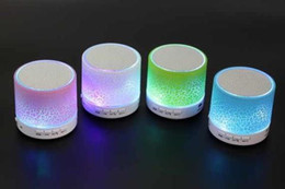Wholesale Disc Player - 2016 hotsale Mini portable sport crackle texture Bluetooth Speaker with LED light can insert U disc mobile phone player with data line