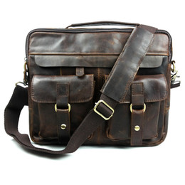 Wholesale Natural Leather Bags - Wholesale- Men's Bags genuine leather handbags Vintage handbag men briefcases natural cow leather shoulder bag Male business messenger bag