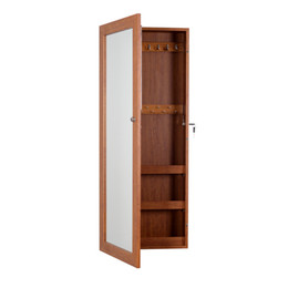Wholesale Wood Living Room Cabinets - Oak Wood Mirror Jewelry Cabinet Jewelry Organizer Storage Box Cosmetic Display with Mirror Wall or Door Mounted