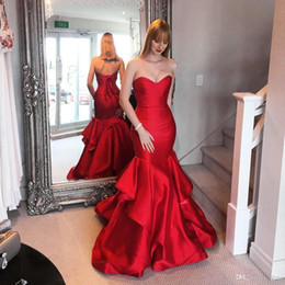 Wholesale Pink Layered Prom Gown - 2017 Tiered Ruffles Layered Red Prom Dresses Sexy Backless Mermaid Sweep Train Evening Gowns with Lace-up BA5264
