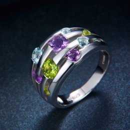 Wholesale Natural Amethyst Gemstone Rings - Hutang Natural Peridot Amethyst Blue Topaz Solid 925 Sterling Silver Ring Colorful Gemstones Fine Jewelry wholesale