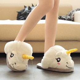 Wholesale Growing Woman - Winter Warm Indoor Slippers Cute Cartoon Plush Unicorn Slippers for Grown Ups White Black Unisex Home Slippers
