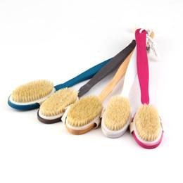 Wholesale Pc Massager - Wholesale-1 pcs Natural Long Wood Wooden Body Brush Massager Bath Shower Back Scrubber Worldwide FreeShipping Newest Hot Search