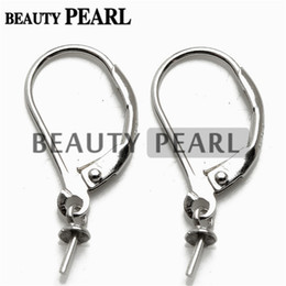Wholesale Wholesale Lever Back Ear Wires - 20 Pairs Earring Blanks French Hook 925 Sterling Silver Findings Lever Back Ear Wires with Bead Cap