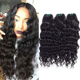 Wholesale 18 Inch Virgin Remy Hair - Hot Selling!Brazilian Peruvian Water Wave Human Hair Weave Bundles 4pcs Wholesale Hair Extensions Daily Deals Unprocessed Remy Hair Weft