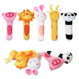 Wholesale 3pcs Monkey - Wholesale- 3Pcs Set Baby Soft Stuffed Toys Hand Bell Monkey Panda Rabbit Giraffe Lion Animals Plush Gift Rattle for Kid Bed and Stroller