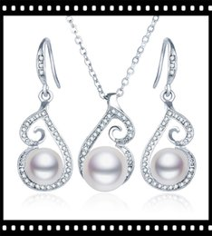 Wholesale Korea Pearl Necklaces - big pearl with flower crystal chain necklace earring with korea rings 4pcs rose gold filled Wedding pearl jewelry sets