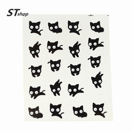 Wholesale Cute Nail Water Stickers - Wholesale- 1 sheet Watermark Nail Stickers Cute Black Cat Nail Art Water Transfer Decal DIY Polish Beauty Nail Decoration Tools BLE1498