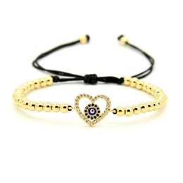 Wholesale Best Turkeys - 1pcs 4mm High Brand Copper Beads With Heart Charm Turkey Religious Eye Cz Macrame Valentine Bracelets,Best Gift