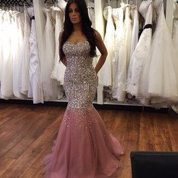 Wholesale Lace Crystal Mermaid Prom Dresses - Real photos Abendkleider 2017 Gorgeous Long Mermaid Pink Evening Dresses with Full Sequins and Crystals Lace up Back Prom Gowns