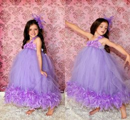 Wholesale Strapless Kids Wedding Dresses - Ball Gown One Shoulder Handmade Flowers Pleats Lace Beads Beading Sweet Tutu Wedding Flower Girl Dresses 2017 Kids Christmas Party Dresses