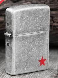 Wholesale Lighter Stars - The ancient silver star red heart lighter blue heart lover's heart The heart of love Kerosene lighter