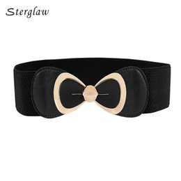 Wholesale Wholesale Big Clothing Leather - Wholesale- Korean female belt elastic waist belts women for clothing cummerbund 2017 fashion ladies Big bow corset belt elastic girdle N011