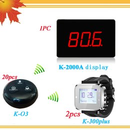 Wholesale Guest Calling System - Restaurant Wireless Call Bell System 20PCS Waterproof Call Button and 2PCS Wrist Watch Pager 1PC Guest Paging System Display