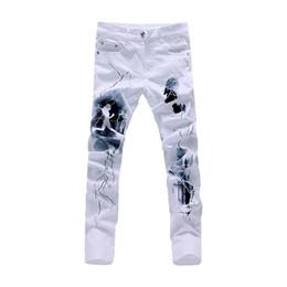 Wholesale Jeans For Large Men - Wholesale-White 3D Printed Men Jeans Unique Lighting Man Biker Printing Cotton Large Size 40 Skinny Jeans For Men Denim Pants