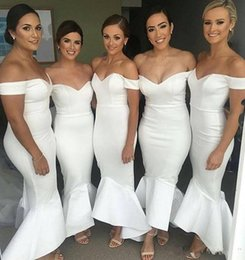 Wholesale Off Shouder - 2018 New Ivory White Long Mermaid Bridesmaid Dresses Off Shouder Satin Wedding Party Maid Of Honor Gowns Hi-lo Wedding Guest Dresses